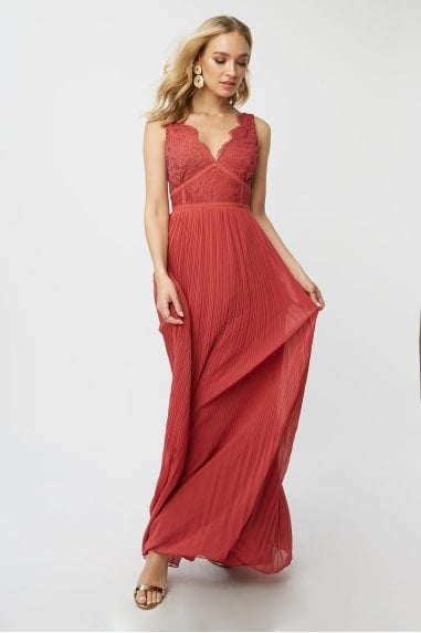 Bridesmaid Luisa Marsala Lace Plunge Maxi Dress