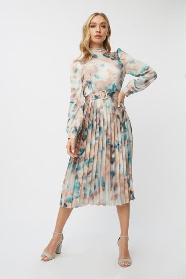 Mishka Agate-Print Belted Midi Dress