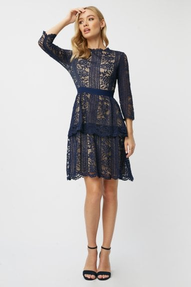 Aliza Navy Contrast Lace Tiered Dress