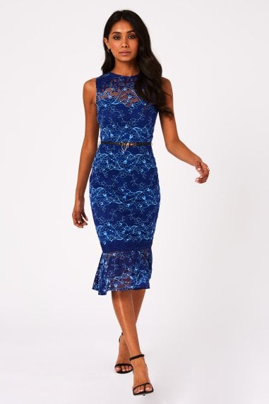 Caletta Cobalt Lace Check Pephem Belted Midi Dress