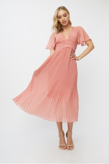 Corrina Desert Rose Lace-Trim Pleated Midaxi Dress