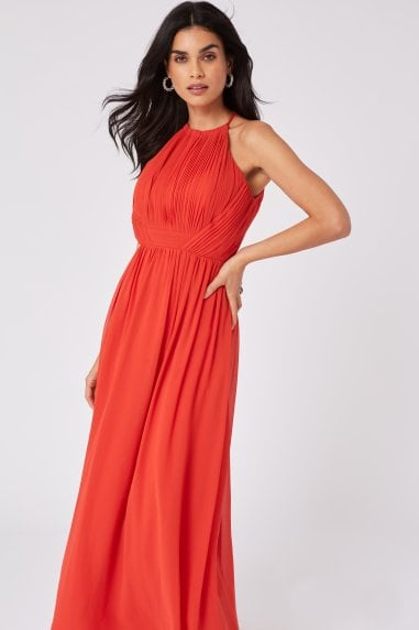 Mimi Salsa Pleated Halterneck Maxi Dress