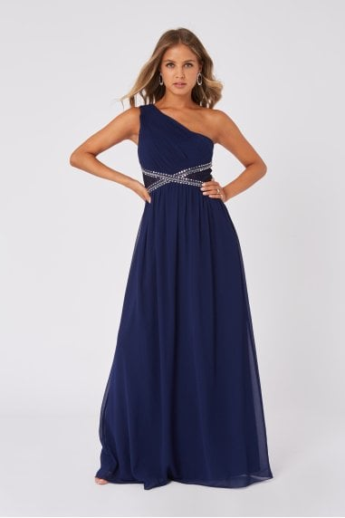 Sonja Navy Embellished One-Shoulder Maxi Dress