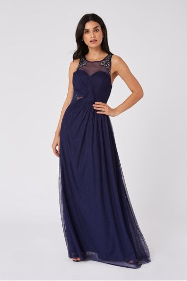 Bridesmaid Sonja Navy Hand-Embellished Sweetheart Maxi Dress