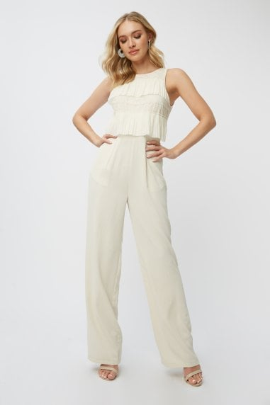 Teigen Cream Lace Tiered Jumpsuit