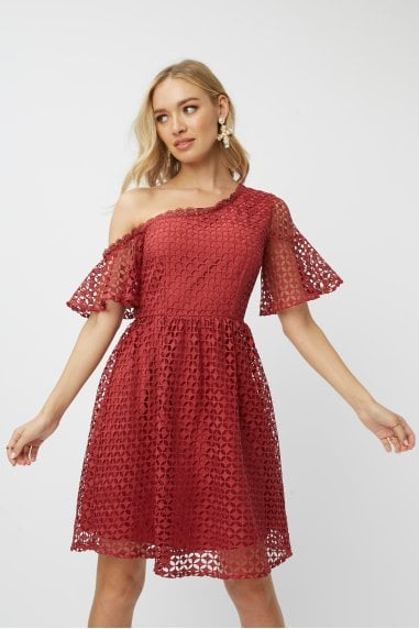 Luisa Marsala Geo-Lace One-Shoulder Skater Dress