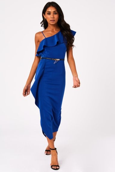 Catania Cobalt One-Shoulder Frill Dress