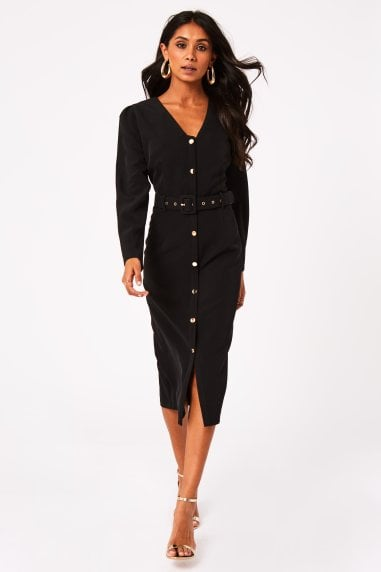 Bianco Black Button Detail Belted Midi Dress
