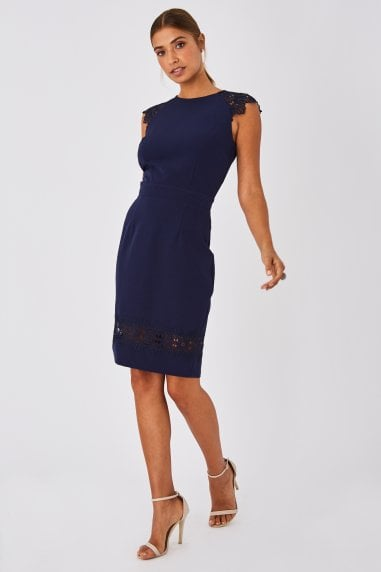 Chapel Navy Lace-Trim Bodycon Dress