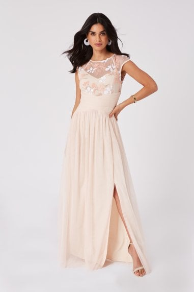 Bridesmaid Cindy Nude Floral-Embroidered Maxi Dress