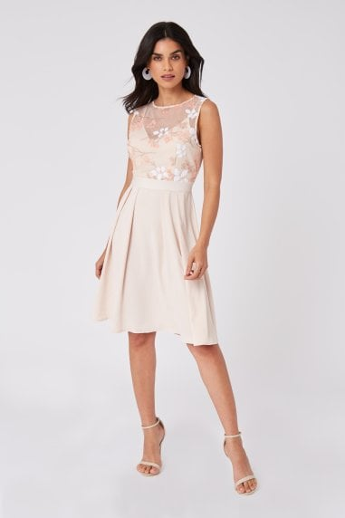 Bridesmaid Cindy Nude Floral-Embroidered Skater Dress