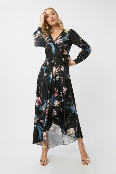 Laurel Black Floral-Print Maxi Wrap Dress