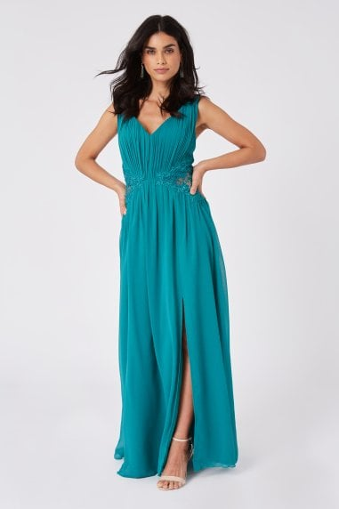 Bridesmaid Halston Aquatic Jade Lace-Applique Maxi Dress