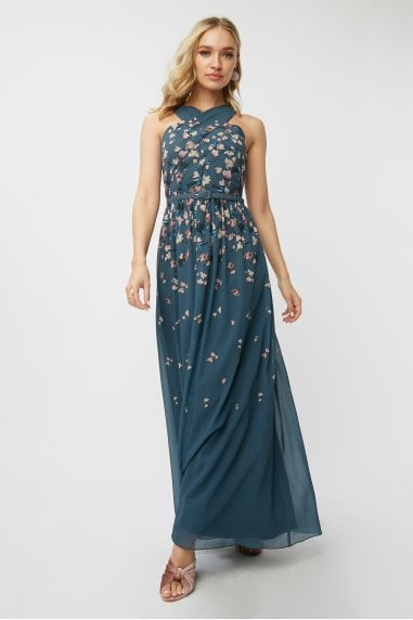Ellarose Ditsy Floral Belted Maxi Dress