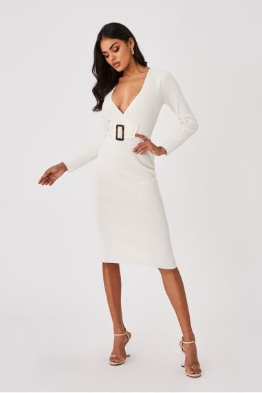 Capsule White Belted Bodycon Midi Dress