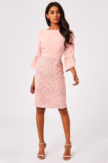Lioni Blush Lace Check Bow Back Pencil Dress