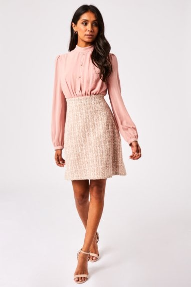 Carino Blush Boucle Pearl Detail Mini Dress