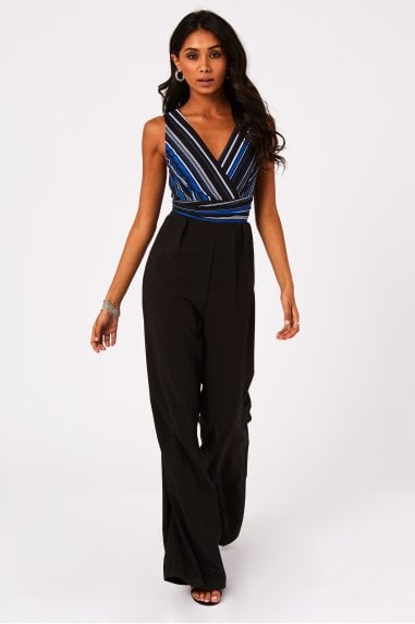 Costa Stripe Mock Wrap Jumpsuit