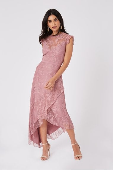 Rosetta Dusty Blush Lace Asymmetric Maxi Dress