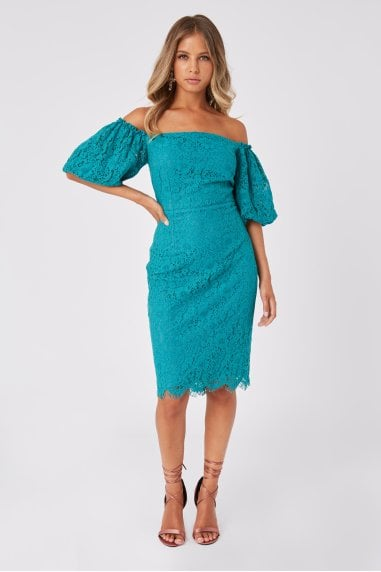 Halston Aquatic Jade Lace Puff Sleeve Bardot Bodycon Dress