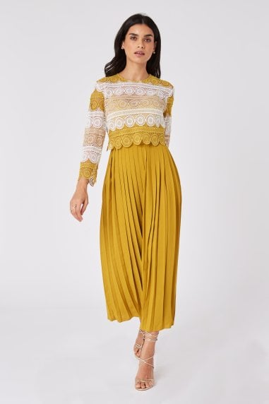 Cara Yellow Crochet Lace Pleated Midaxi Dress
