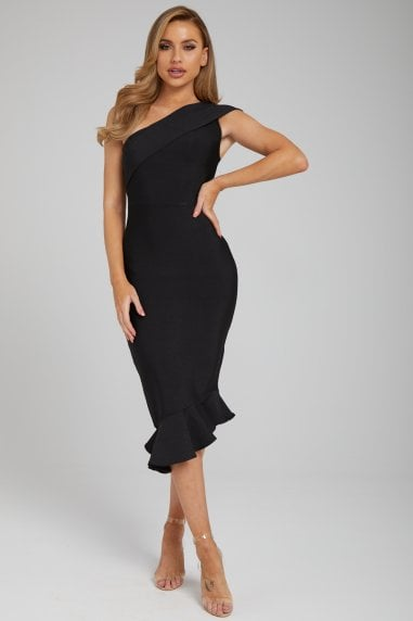 The 'Katreen' Black One Hand Midi Bandage Dress