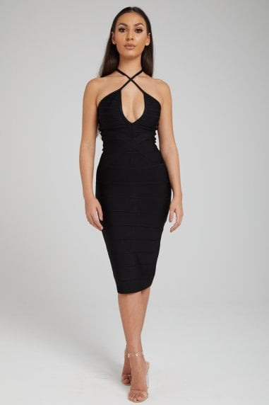 The 'Zizi' Black Midi Bandage Dress
