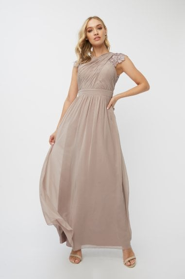 Bridesmaid Leonora Oyster Crochet Maxi Dress