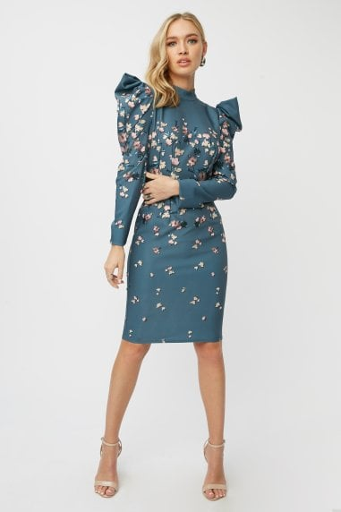 Ellarose Ditsy Floral Puff Sleeve Bodycon Dress