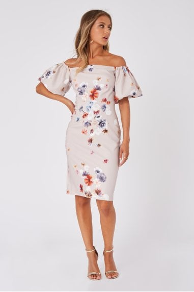 Mindy Floral-Print Puff Sleeve Bardot Bodycon Dress