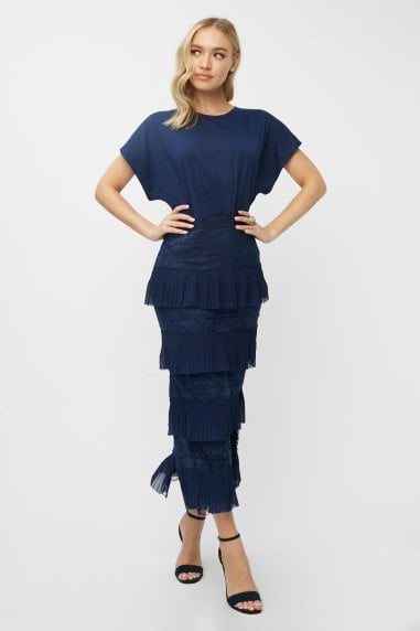 Aliza Navy Tiered Lace Midaxi Dress