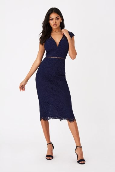 Caro Navy Lace Plunge Midi Dress