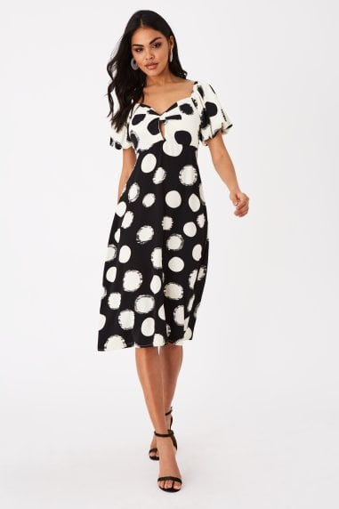 Lorenzo Monochrome Spot Midi Tea Dress