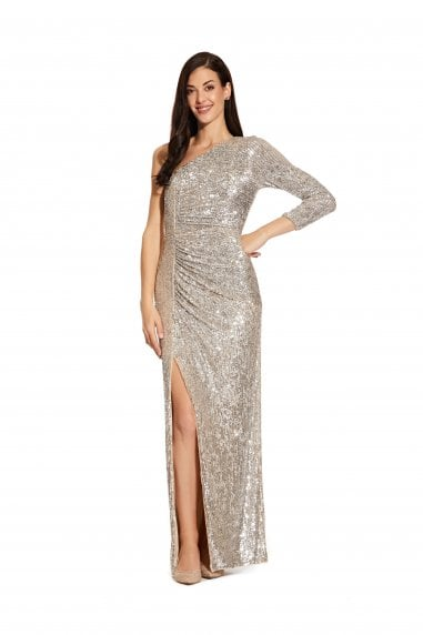 Sequin Draped Gown In Silver