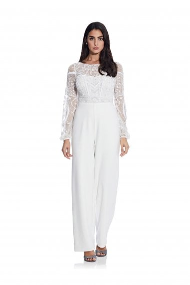 Bead Crepe Jumpsuit In Ivory