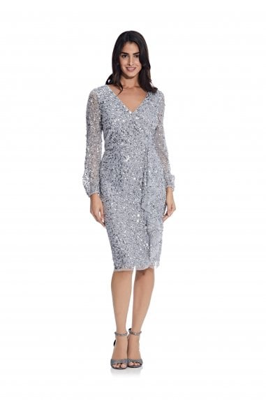 Beaded Blouson Sleeve Dress in Silver Mist