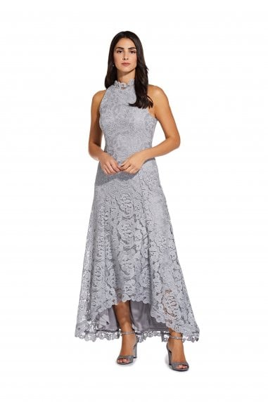 Metallic Lace Gown In Silver