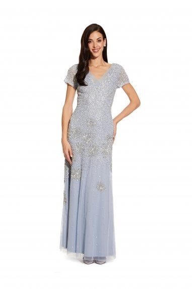 Beaded Short Sleeve Gown In Blue Heather