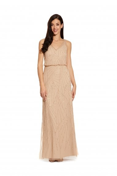 Sleeveless Beaded Dress In Champagne/Silver