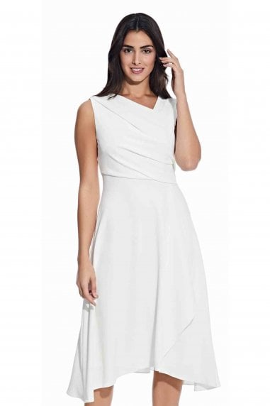 Soft Draped A-Line Dress In Ivory