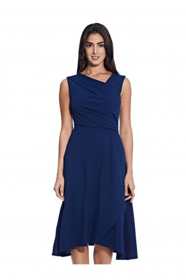 Soft Draped A-Line Dress In Navy