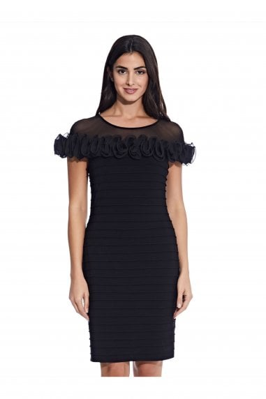 Matte Jersey Rosette Sheath Dress In Black