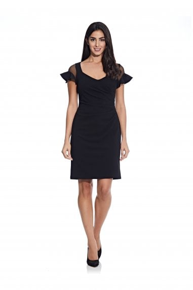 Knit Crepe Illusion Dress In Black