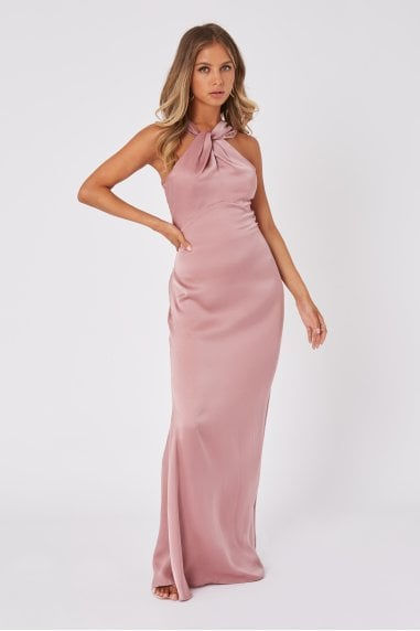 Bridesmaid Rosetta Dusty Blush Satin Halterneck Maxi Dress