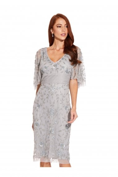 Beaded Cape Sleeve Dress In Silvermist