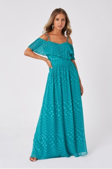 Halston Aquatic Jade Spot Frill Maxi Dress
