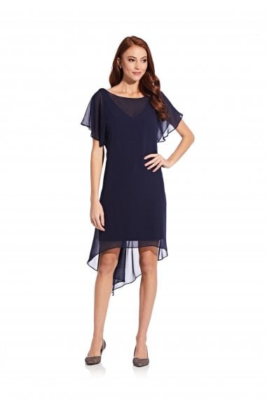 Chiffon Overlay Draped Dress In Navy