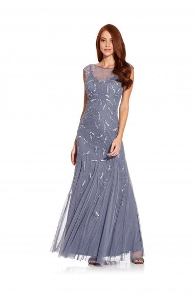 Cap Sleeve Beaded Gown In Cool Wisteria