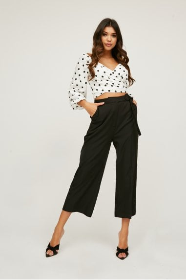 Modus Black Buckle Detail Wide-Leg Trousers