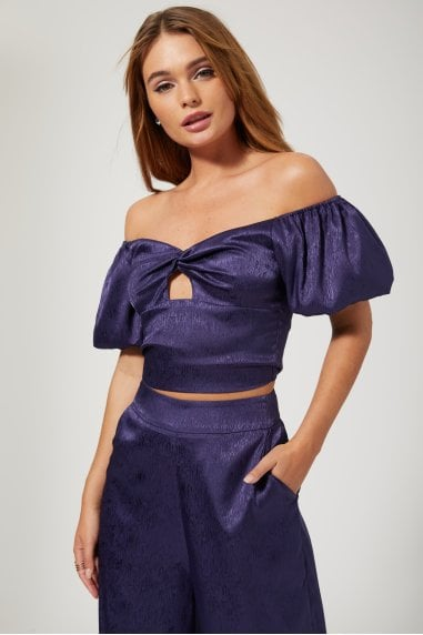 Rosenthal Navy Satin Puff Sleeve Crop Top